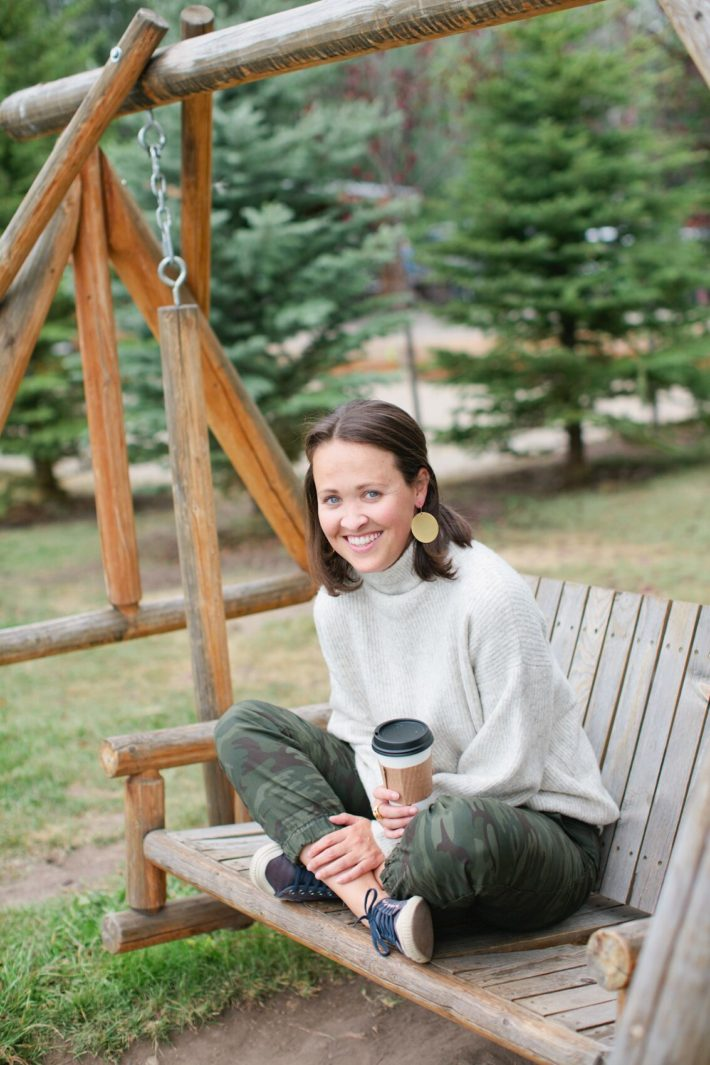 Lifestyle Jackson Hole Blogger Meagan drinking coffee at pearl street bagels
