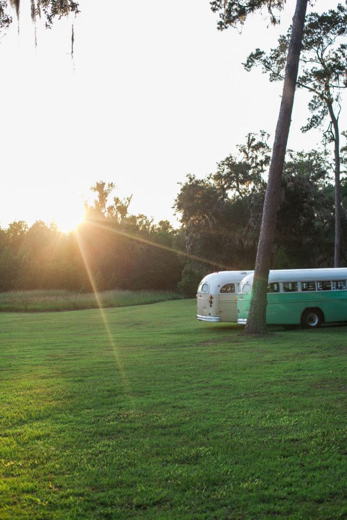 Old buses in sunlight in savannah georgia