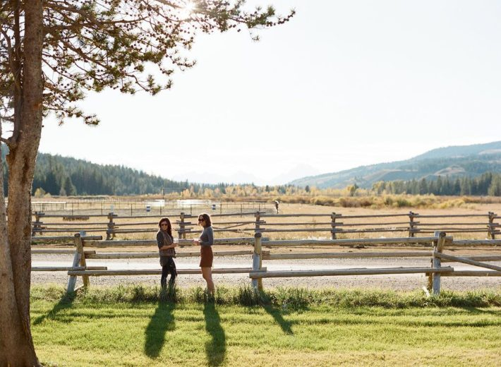 Jackson Hole Blogger Meagan and friend wait for the dinner bell at Turpin Meadow Ranch in Wyoming