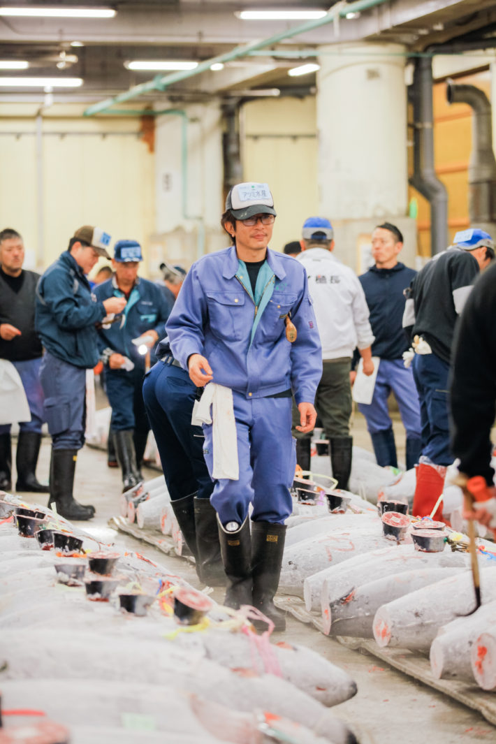 Tsukiji Fish Market Auction in Tokyo. A bidder inspects the tuna before the auction begins.