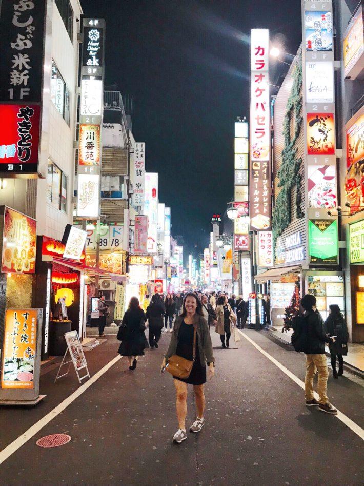 Travel Blogger Meagan in Shinjuku Neighborhood of Tokyo, Japan