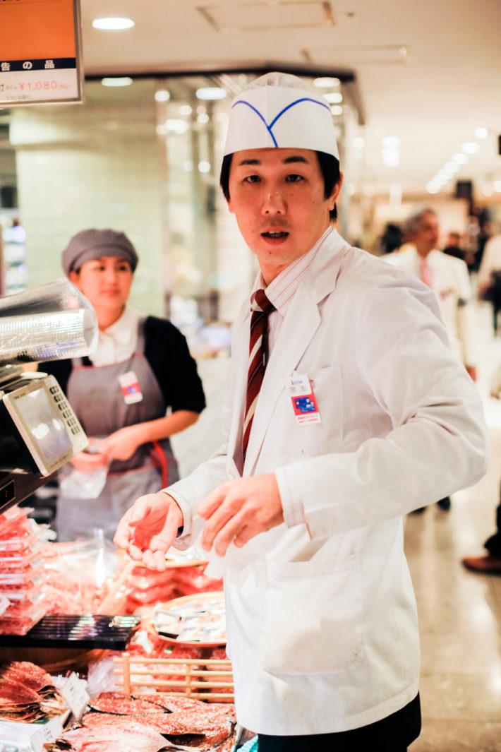 Butcher at the Isetan Food Department in Tokyo, Japan