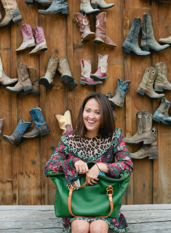 Jackson Hole Blogger and her Copperdot Leather Bag made in Wyoming
