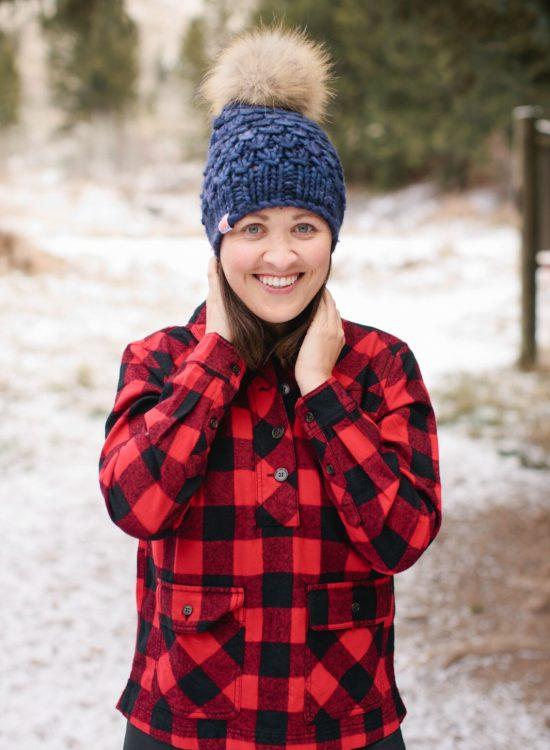 Jackson Hole Blogger wearing Sh*T That I Knit Beanie