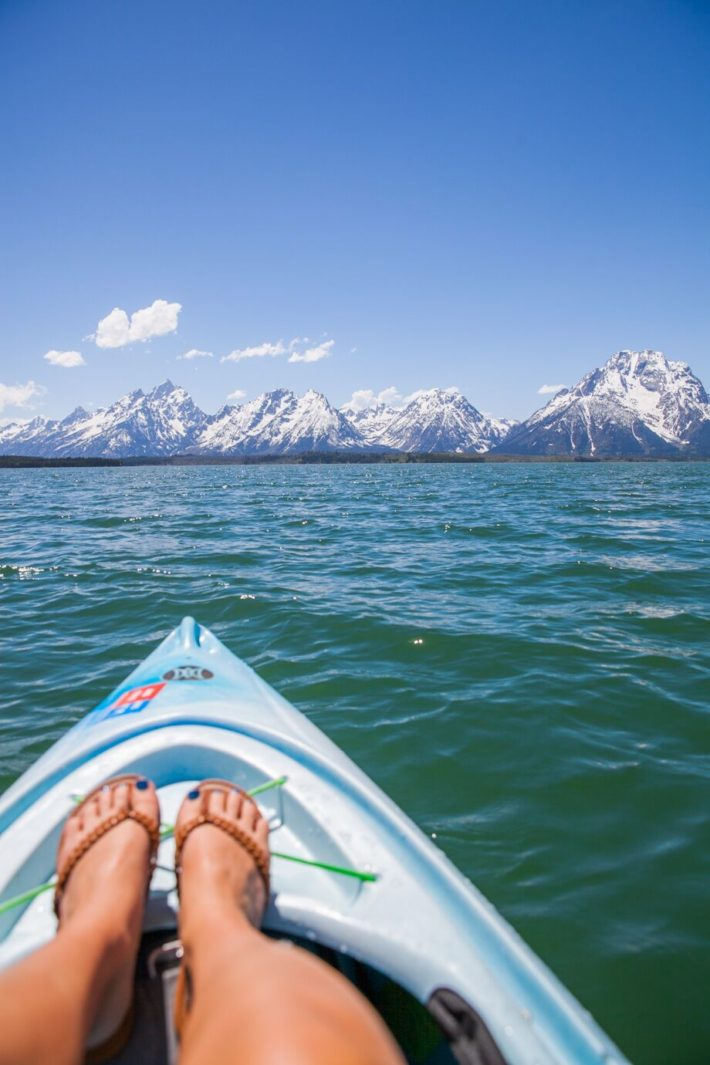 Kayaking in Grand Teton National Park on Jackson Lake in Wyoming