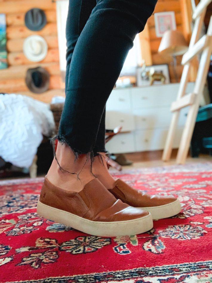 frye leather lena slip on