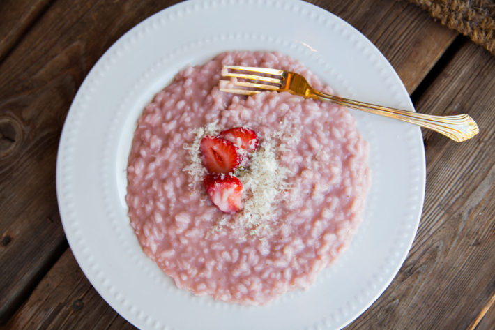 cook with a chef anywhere in the world with the chef and the dish strawberry risotto