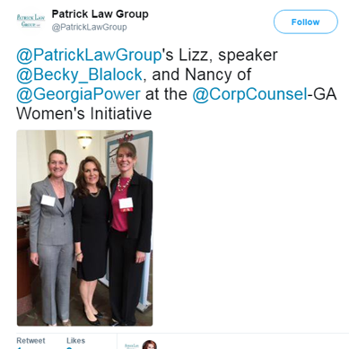 Lizz Patrick Presenter at the Georgia Corporate Counsel Women's Initiative Meeting