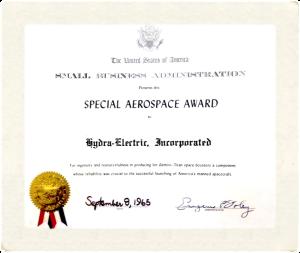 Aerospace award for Hydra-Electric