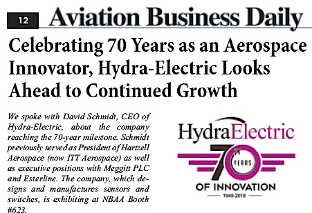 Aviation Business Daily Q&A with Hydra-Electric CEO Looks Forward and Backward from 70 Years