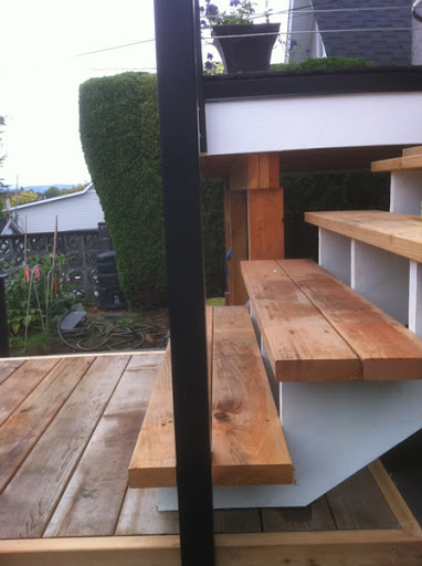 Aluminum Posts Installed into Wood Stairs