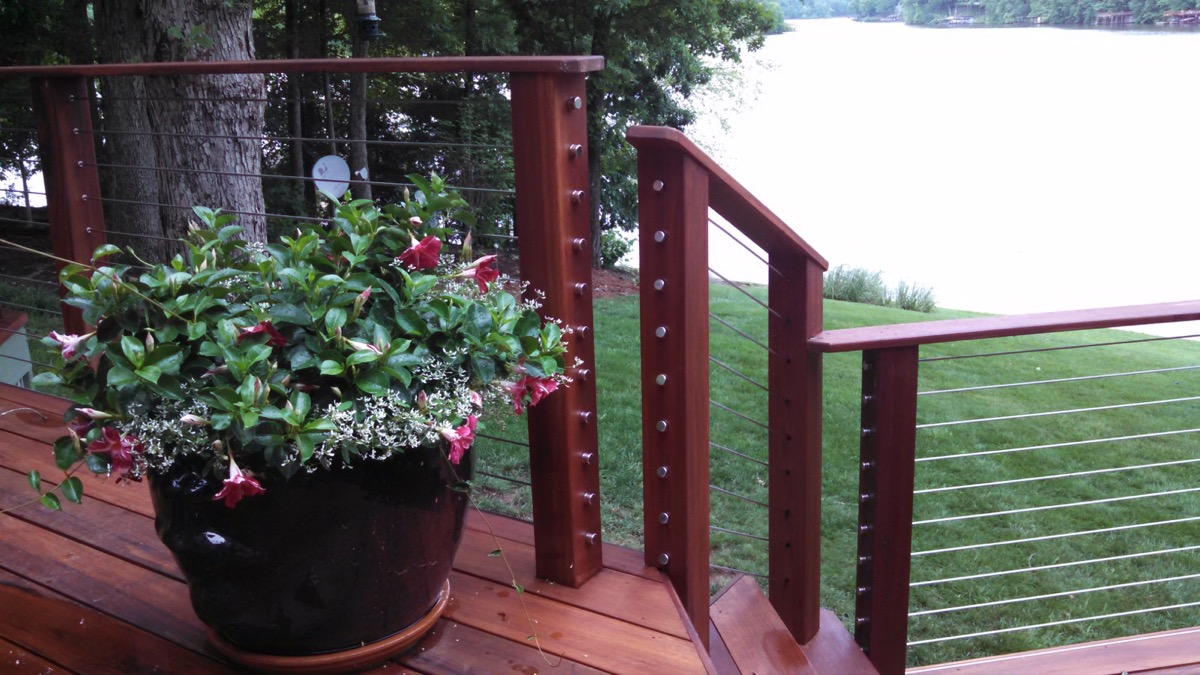 Lake Gaston NC IPE Post and Rail with Stainless Cable Railing and QuickNut End Hardware (2)