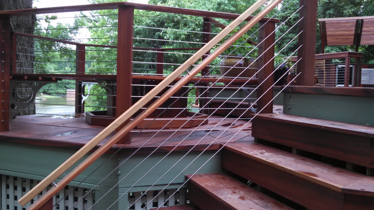 Lake Gaston NC IPE Post and Rail with Stainless Cable Railing and QuickNut End Hardware (5)
