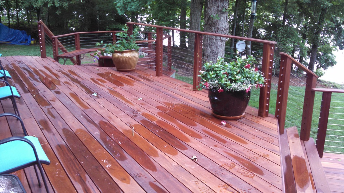 Lake Gaston NC IPE Post and Rail with Stainless Cable Railing and QuickNut End Hardware (6)