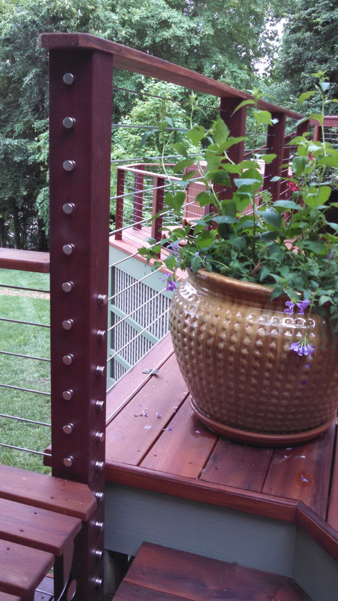 Lake Gaston NC IPE Post and Rail with Stainless Cable Railing and QuickNut End Hardware (8)