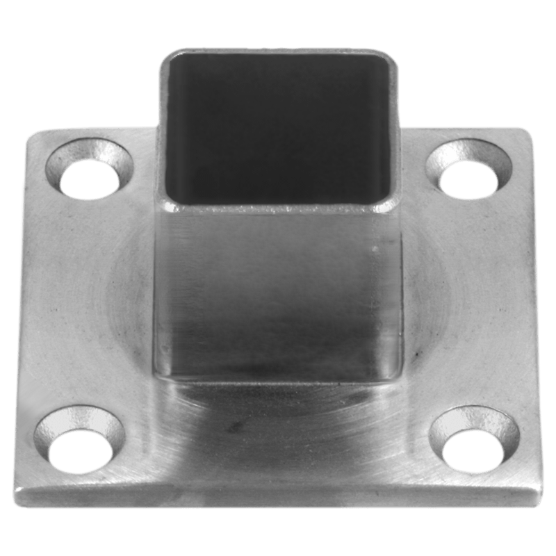 Floor flange for square stainless intermediate posts