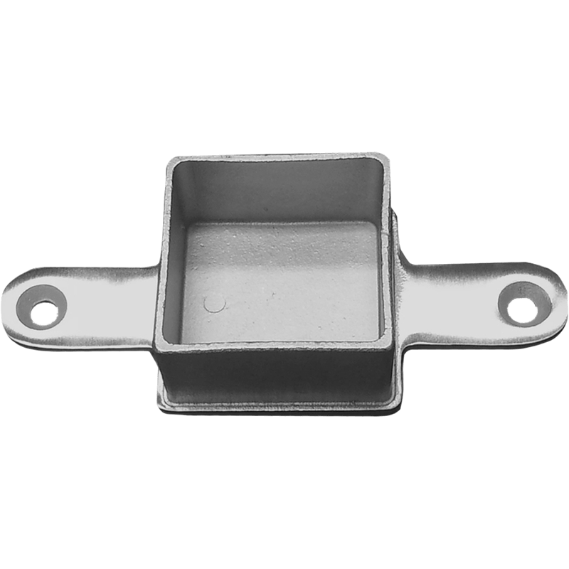 Stainless steel square intermediate post to flat top rail flush mount for inline use.