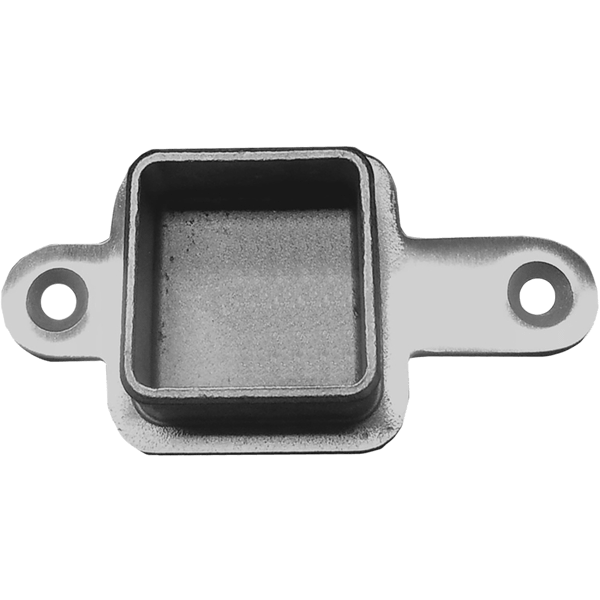 Square stainless terminal post to top rail flush mount for inline use.