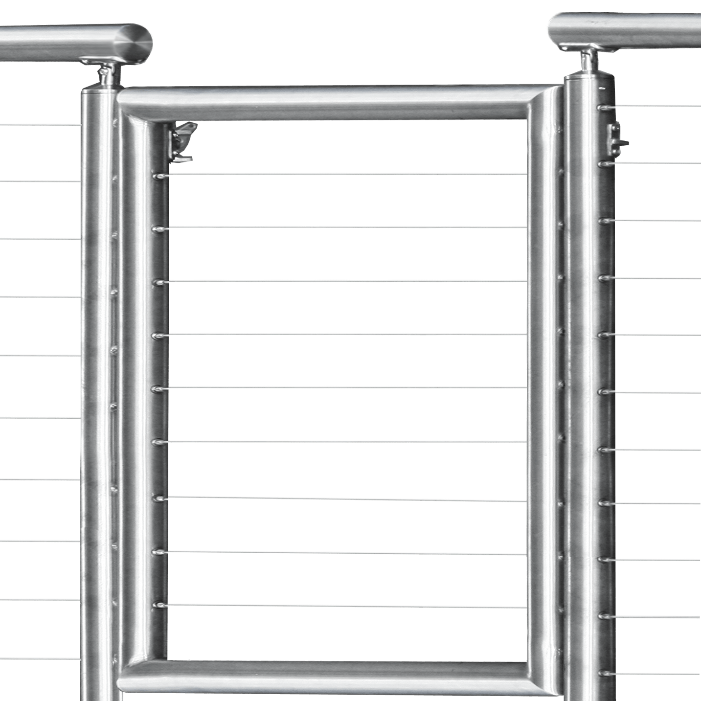 Custom Stainless Steel Round Cable Railing Gate with Latch and Hinges