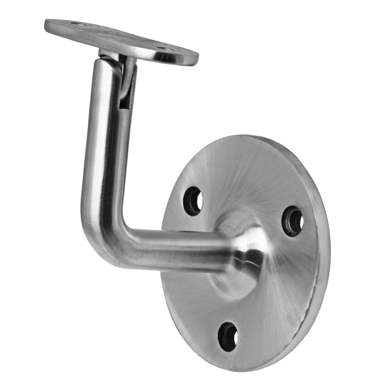 Wall Mount Adjustable Neck Flat Saddle Material: 1.6mm Wall Thickness Marine Grade 316 round tube Finish: Brushed 180 grit