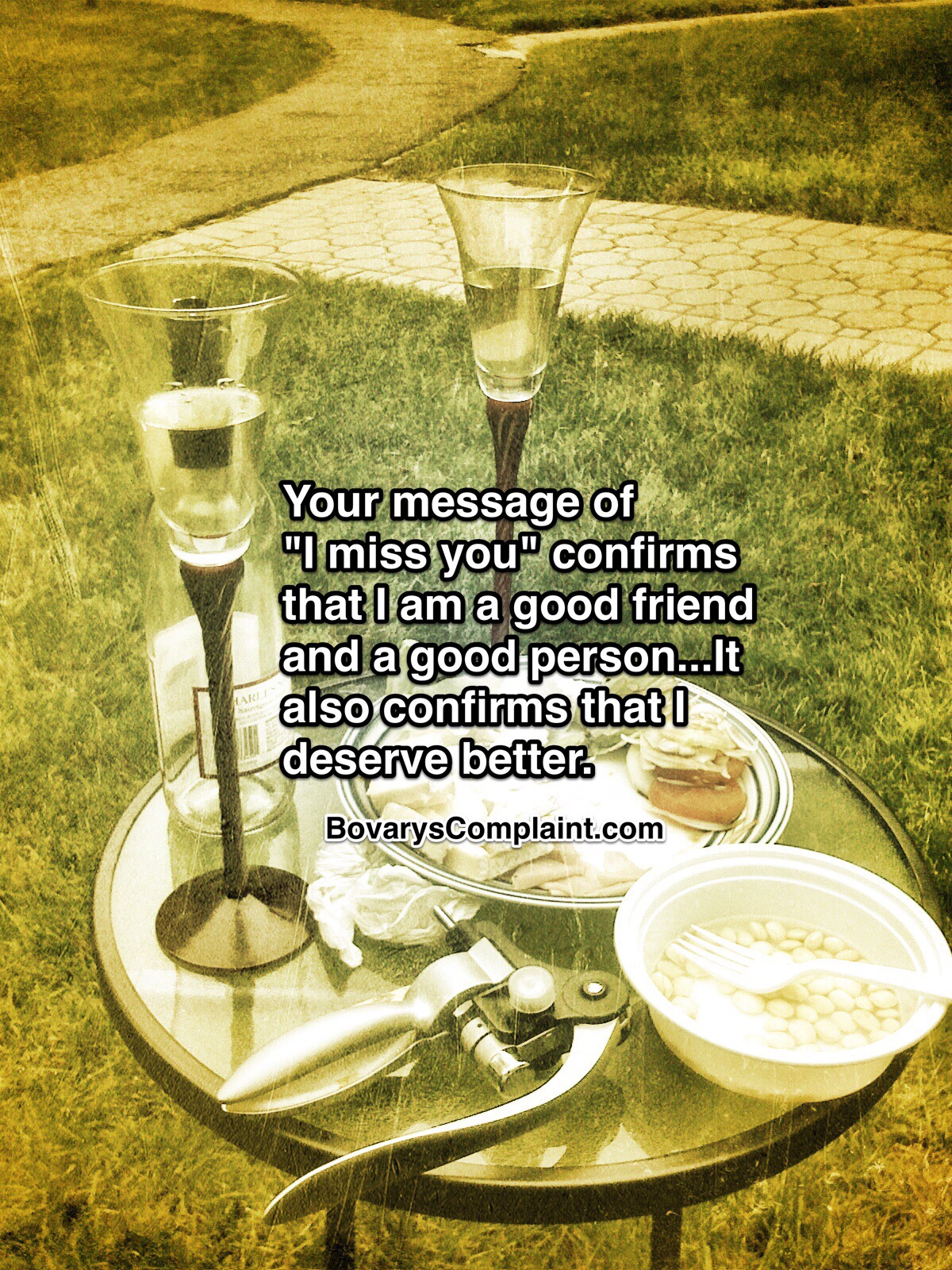 Apology quote with picture of wine glasses and food.