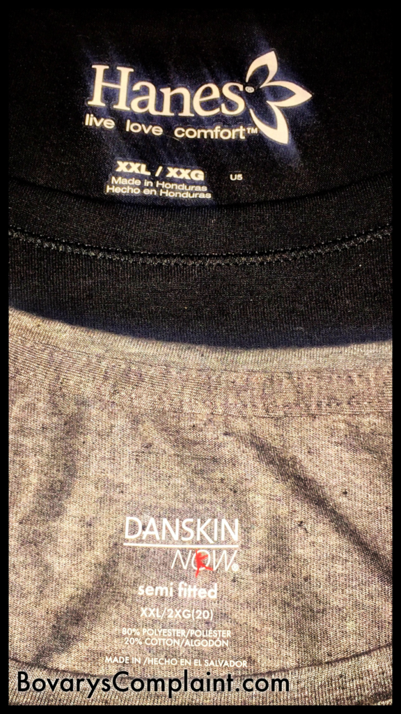 Danskin shirt compared with Hanes shirt