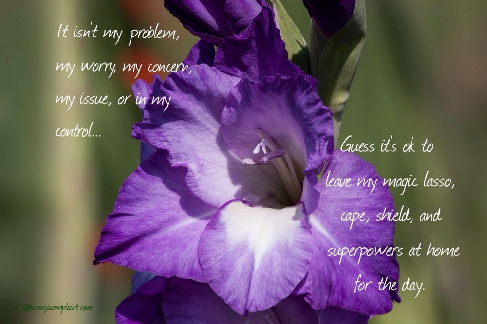 SuperWoman at rest; picture of purple sword flower with quote.