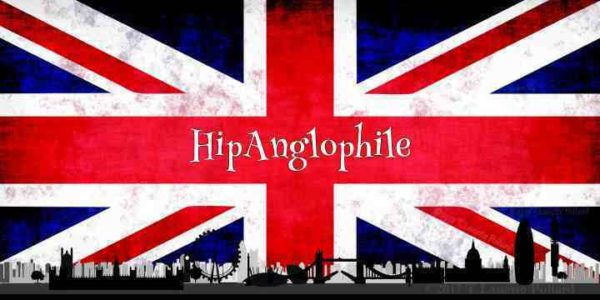 UK Union Jack with London Cityscape with title Hip Anglophile in the center