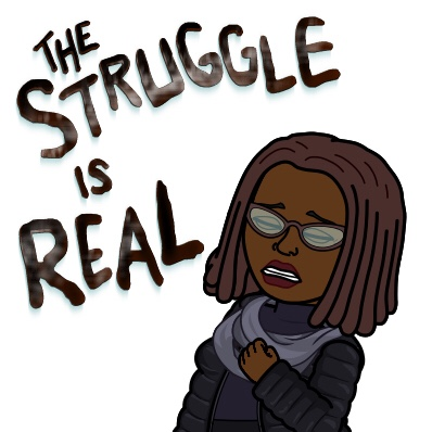 bitmoji of black woman with locs with hand on chest saying
