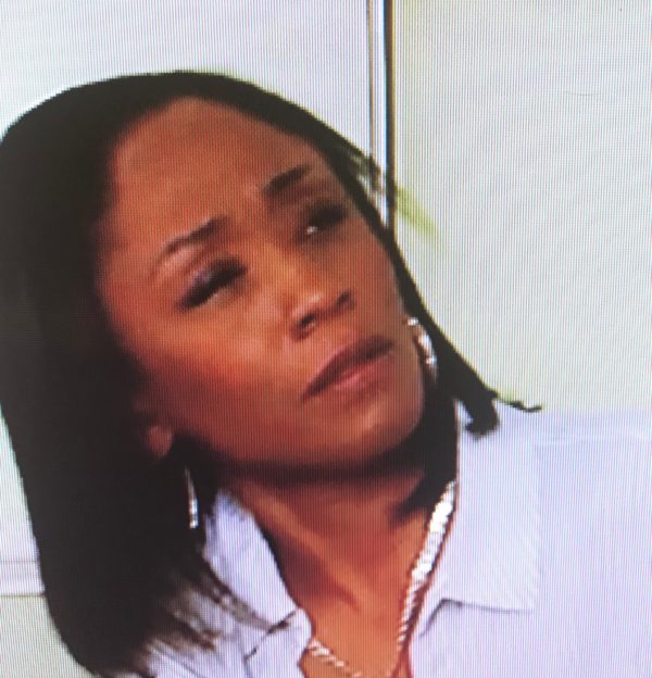 EastEnders Denise Fox looking at Phil Mitchell with suspicion after he says he's being nice.