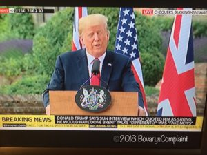 "SkyNews screen with Donald Trump during press conference with Theresa May and caption saying Trump saying his interviews were ""fake news."""