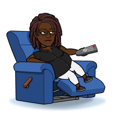 Black Woman BitMoji relaxing in a recliner watching television show.