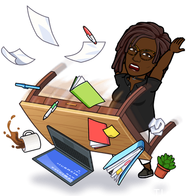 Bitmoji Black Woman with Dreadlocks tossing her desk out of frustration after reading too many