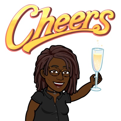Black Woman BitMoji with Dreadlocks holding glass of wine and saying Cheers!