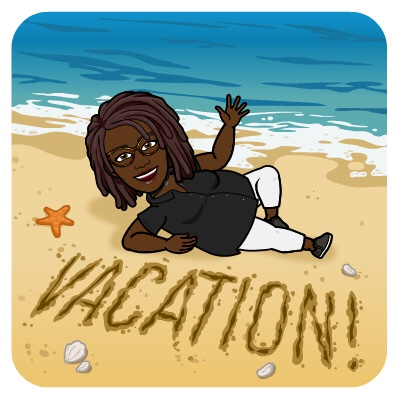 Black Woman BitMoji lying on beach with the word Vacation written in the sand