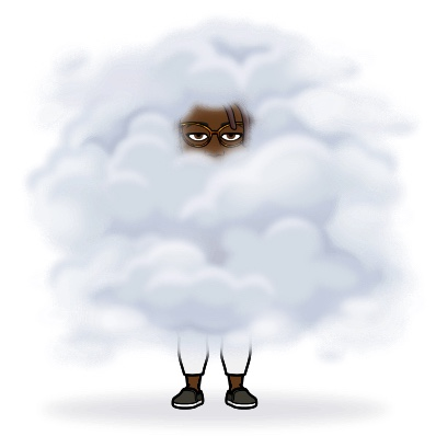 Black woman Bitmoji surrounded by fog feeling down...