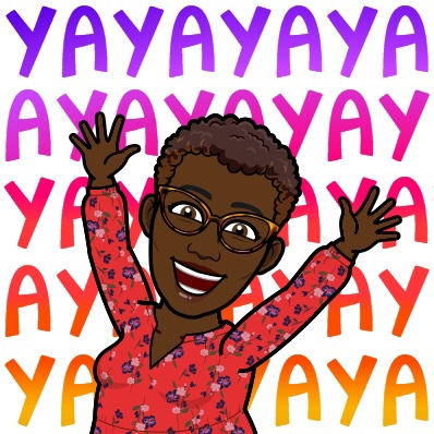 Black Woman  Bitmoji  shouting Yay many times