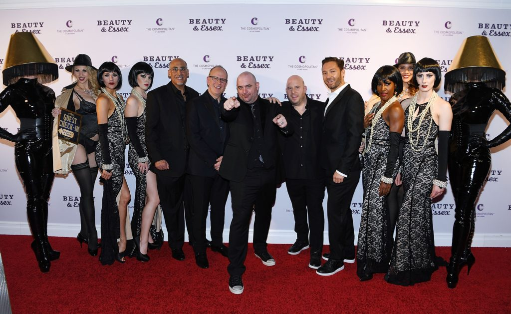 LAS VEGAS, NV - MAY 14: Rich Wolf, Chef Chris Santos, Noah Tepperberg and Jason Strauss arrive at the opening of Beauty & Essex at the Cosmopolitan of Las Vegas on May 14, 2016 in Las Vegas, Nevada. (Photo by Denise Truscello/WireImage) *** Local Caption *** Rich Wolf; Chris Santos; Noah Tepperberg; Jason Strauss