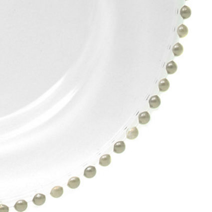 Glass Charger Silver Beaded 13 (Closeup) - AC Party Rentals