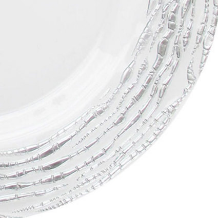 Glass Charger Silver Swirl 13 (Closeup) - AC Party Rentals
