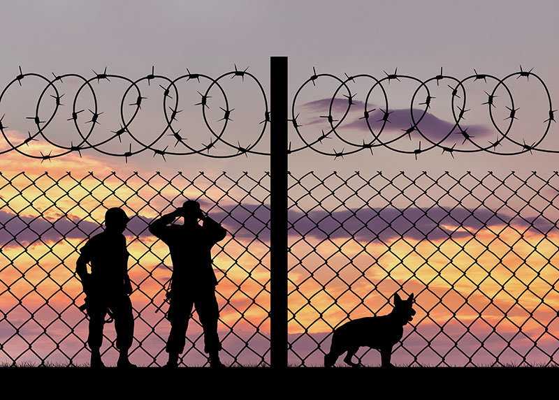 Silhouette of the military with a dog