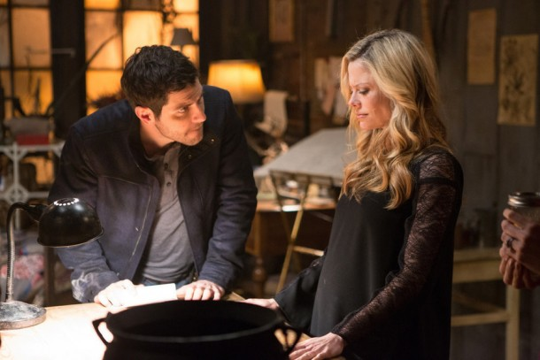 """GRIMM -- """"You Don't Know Jack"""" Episode 420 -- Pictured: (l-r) David Giuntoli as Nick Burkhardt, Claire Coffee as Adalind Schade -- (Photo by: Scott Green/NBC)"""