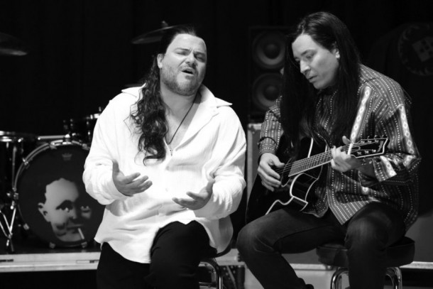 """THE TONIGHT SHOW STARRING JIMMY FALLON -- Episode 0255 -- Pictured: (l-r) Musician Jack Black and host Jimmy Fallon during the """"More Than Words"""" music video skit on May 4, 2015 -- (Photo by: Douglas Gorenstein/NBC)"""