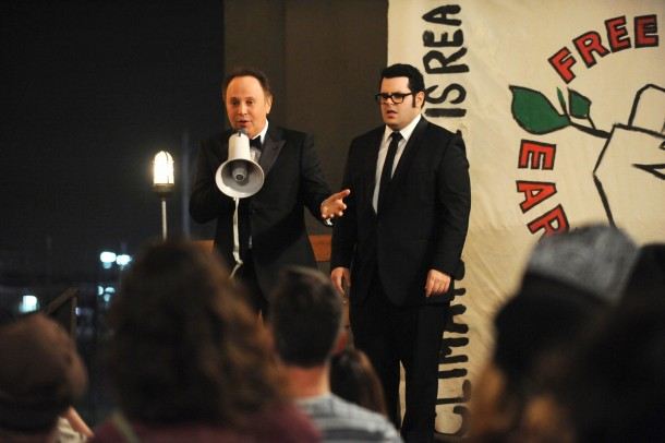 """THE COMEDIANS -- """"Charity"""" Episode 108 (Airs Thursday, May 28, 10:00 pm e/p) -- Pictured: (l-r) Billy Crystal as Billy, Josh Gad as Josh.  CR: Ray Mickshaw/FX."""