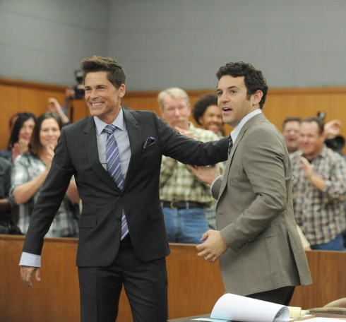 THE GRINDER:  L-R:  Rob Lowe and Fred Savage in the series premiere episode of THE GRINDER airing Tuesday, Sept. 29 (8:30-9:00 PM ET/PT) on FOX.  ©2015 Fox Broadcasting Co.  Cr:  Ray Mickshaw/FOX.