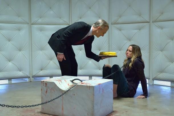 """THE STRAIN -- """"Dead End"""" -- Episode 211 (Airs September 20, 10:00 pm e/p) Pictured: (l-r) Richard Sammel as Thomas Eichhorst, Ruta Gedmintas as Dutch Velders. CR: Michael Gibson/FX"""