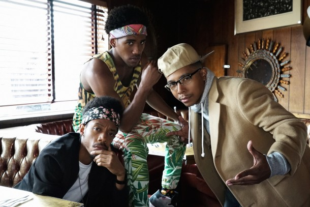 """YOU'RE THE WORST -- """"All About That Paper"""" -- Episode 204 (Airs Wednesday, September 30, 10:30 pm e/p Pictured: (l-r) Darrell Britt-Gibson as Shitstain, Brandon Mychal Smith as Sam, Allen Maldonado as Honeynutz. CR: Byron Cohen/FX"""