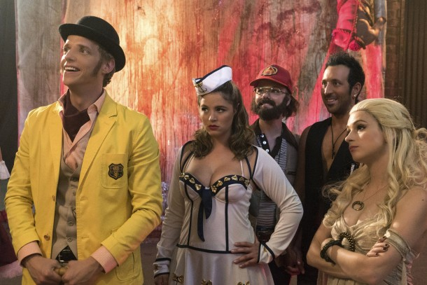 "YOU'RE THE WORST -- ""Spooky Sunday Funday"" -- Episode 208 (Airs Wednesday, October 28, 10:30 pm e/p) Pictured: (l-r) Chris Geere as Jimmy, Kether Donohue as Lindsay, Collette Wolfe as Dorothy, Desmin Borges as Edgar, Aya Cash as Gretchen. CR: Byron Cohen/FX"