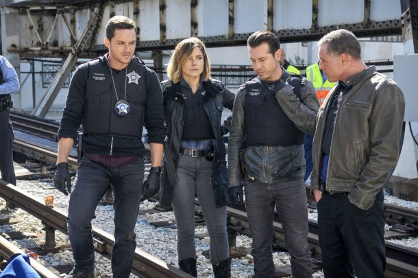 "CHICAGO P.D. --  ""A Dead Kid, A Notebook, and a Lot of Maybes"" Episode 307 -- Pictured: (l-r) Jesse Lee Soffer as Jay Halstead, Jon Seda as Antonio Dawson, Sophia Bush as Erin Lindsay, Jason Beghe as Hank Voight -- (Photo by: Matt Dinerstein/NBC)"