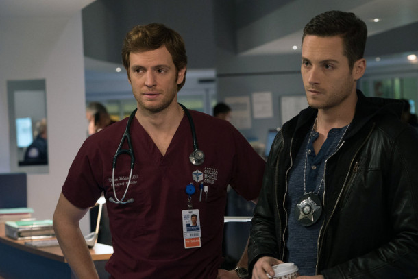 "CHICAGO MED -- ""Saints"" Episode 107 -- Pictured: (l-r) Nick Gehlfuss as Dr. Will Halstead, Jesse Lee Soffer as Jay Halstead -- (Photo by: Elizabeth Sisson/NBC)"